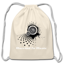 "Load image into Gallery viewer, ""Married To Music"" Line - Cotton Light-Blue Drawstring Bag - natural"