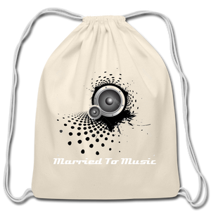 """Married To Music"" Line - Cotton Light-Blue Drawstring Bag - natural"