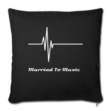 "Load image into Gallery viewer, ""Married To Music"" Line - Navy Style Throw Pillow Cover 18"" x 18"" - black"