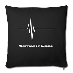 """Married To Music"" Line - Navy Style Throw Pillow Cover 18"" x 18"" - black"