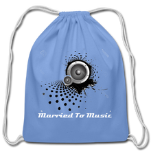 "Load image into Gallery viewer, ""Married To Music"" Line - Cotton Light-Blue Drawstring Bag - carolina blue"