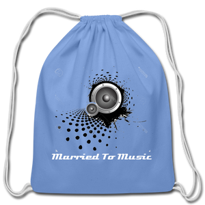 """Married To Music"" Line - Cotton Light-Blue Drawstring Bag - carolina blue"