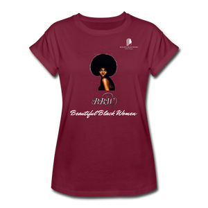 """Beautiful Black Women"" Line - (Classic Afro) Relaxed Fit Cotton T-Shirt - burgundy"