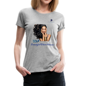 """Beautiful Black Women"" Line - (Inviting) Soft Premium Cotton T-Shirt - heather gray"