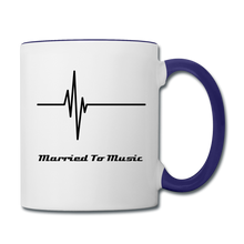 "Load image into Gallery viewer, ""Married To Music"" Line - Navy Stylish Contrast Coffee Mug - white/cobalt blue"