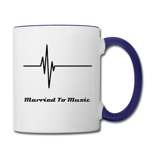 """Married To Music"" Line - Navy Stylish Contrast Coffee Mug - white/cobalt blue"