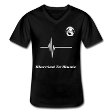 "Load image into Gallery viewer, Premier DJ E-Luv Logo - ""Married To Music"" Signature Men's Navy V-Neck T-Shirt - black"