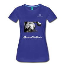 "Load image into Gallery viewer, Women DJ's Dream Logo - ""Married To Music"" Iconic Madonna Women's Premium Black T-Shirt - royal blue"