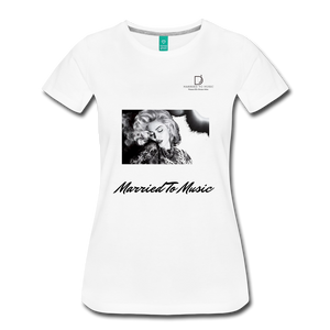 "Women DJ's Dream Logo - ""Married To Music"" Iconic Madonna Women's Premium T-Shirt - white"