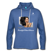"Load image into Gallery viewer, ""Beautiful Black Women"" Line - (Inviting) Unisex Lightweight Terry Hoodie - heather Blue"