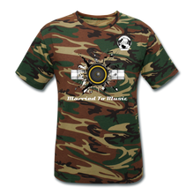 "Load image into Gallery viewer, Premier DJ E-Luv Logo - ""Married To Music"" Speaker Box Men's Unisex Camouflage T-Shirt - green camouflage"