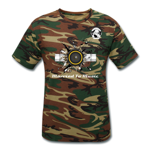 "Premier DJ E-Luv Logo - ""Married To Music"" Speaker Box Men's Unisex Camouflage T-Shirt - green camouflage"