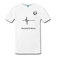 "Load image into Gallery viewer, Premier DJ E-Luv Logo - ""Married To Music"" Signature Men's Premium Breathable T-Shirt - white"