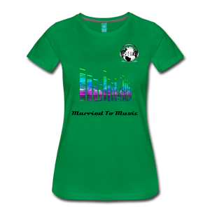 "Premier DJ E-Luv Logo - ""Married To Music"" EQ. Slant Women's Premium T-Shirt - kelly green"