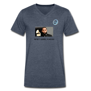 "N.L. ""Nipsey Hussle Forever"" At The Grammy's - Men's V-Neck T-Shirt by Canvas - heather navy"