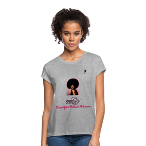 """Beautiful Black Women"" Line - (Classic Afro) Soft Premium Cotton T-Shirt - heather gray"