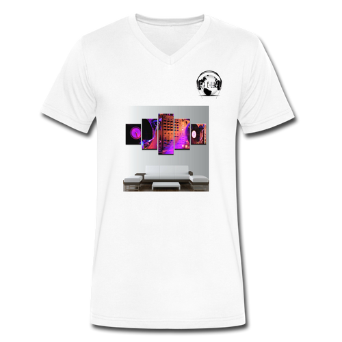 Premier DJ E-Luv Logo - Turntables & Mixer Wall Art - Men's V-Neck T-Shirt by Canvas - white