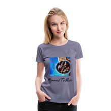 "Load image into Gallery viewer, Women DJ's Dream Logo - ""Married To Music"" Blue Guitar Women's Premium T-Shirt - washed violet"