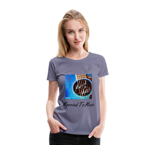 "Women DJ's Dream Logo - ""Married To Music"" Blue Guitar Women's Premium T-Shirt - washed violet"