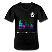 "Load image into Gallery viewer, Premier DJ E-Luv Logo - ""Married To Music"" Line E.Q. Slant Men's V-Neck T-Shirt - black"