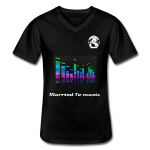 "Premier DJ E-Luv Logo - ""Married To Music"" Line E.Q. Slant Men's V-Neck T-Shirt - black"