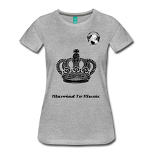 "Load image into Gallery viewer, Premier DJ E-Luv Logo - ""Married To Music"" Queen Crown Women's Premium T-Shirt - heather gray"
