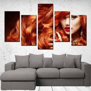 "P.M. - ""Perfect Makeup"" Line - (Queen of Fire) 5 Panels Canvas Wall Art"
