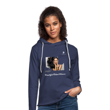 "Load image into Gallery viewer, ""Beautiful Black Women"" Line - (Inviting) Unisex Lightweight Terry Hoodie - heather navy"