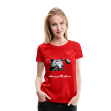 "Load image into Gallery viewer, Women DJ's Dream Logo - ""Married To Music"" Iconic Madonna Women's Premium Black T-Shirt - red"