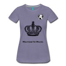 "Load image into Gallery viewer, Premier DJ E-Luv Logo - ""Married To Music"" Queen Crown Women's Premium T-Shirt - washed violet"