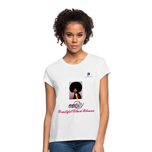 """Beautiful Black Women"" Line - (Classic Afro) Soft Premium Cotton T-Shirt - white"