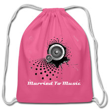 "Load image into Gallery viewer, ""Married To Music"" Line - Cotton Light-Blue Drawstring Bag - pink"