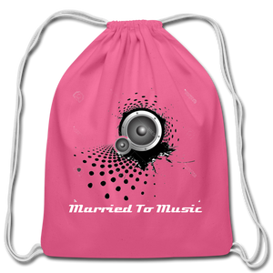 """Married To Music"" Line - Cotton Light-Blue Drawstring Bag - pink"