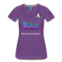 "Load image into Gallery viewer, Premier DJ E-Luv Logo - ""Married To Music"" EQ. Slant Women's Premium T-Shirt - purple"