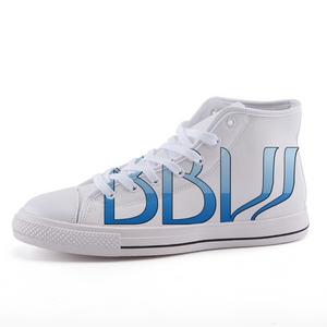 "BBW - ""Beautiful Black Women"" Line - Baby Blue Custom Design Women's High-Top Fashion Canvas Sneakers"
