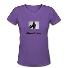 "Load image into Gallery viewer, Women DJ's Dream Logo - ""Married To Music"" Female DJ & Vinyl V-Neck Premium T-Shirt - purple"