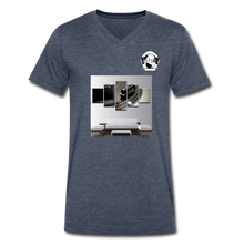 Load image into Gallery viewer, Premier DJ E-Luv Logo - Turntable Wall Art - Men's V-Neck T-Shirt by Canvas - heather navy