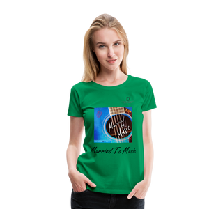 "Women DJ's Dream Logo - ""Married To Music"" Blue Guitar Women's Premium T-Shirt - kelly green"