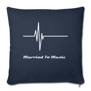 """Married To Music"" Line - Navy Style Throw Pillow Cover 18"" x 18"" - navy"