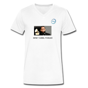 "N.L. ""Nipsey Hussle Forever"" At The Grammy's - Men's V-Neck T-Shirt by Canvas - white"