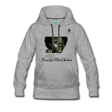 "Load image into Gallery viewer, ""Beautiful Black Women"" Line - (Tastefully Seductive) Women's Soft Premium Hoodie - heather gray"