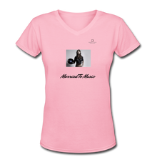 "Load image into Gallery viewer, Women DJ's Dream Logo - ""Married To Music"" Female DJ & Vinyl V-Neck Premium T-Shirt - pink"