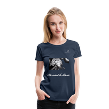 "Load image into Gallery viewer, Women DJ's Dream Logo - ""Married To Music"" Iconic Madonna Women's Premium Black T-Shirt - navy"