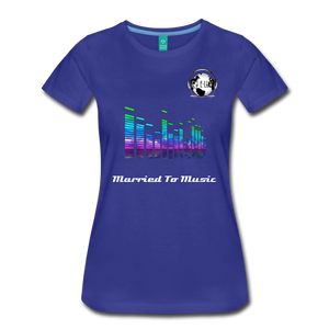 "Premier DJ E-Luv Logo - ""Married To Music"" EQ. Slant Women's Premium T-Shirt - royal blue"