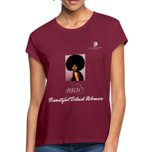 "Load image into Gallery viewer, ""Beautiful Black Women"" Line - (Classic Afro) Relaxed Fit Cotton T-Shirt - burgundy"