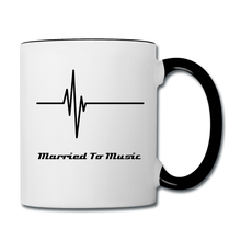 "Load image into Gallery viewer, ""Married To Music"" Line - Navy Stylish Contrast Coffee Mug - white/black"