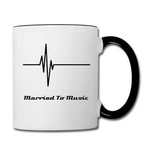 """Married To Music"" Line - Navy Stylish Contrast Coffee Mug - white/black"