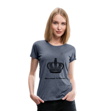 "Load image into Gallery viewer, Women DJ's Dream Logo - ""Married To Music"" Queen 01 Women's Premium  T-Shirt - heather blue"