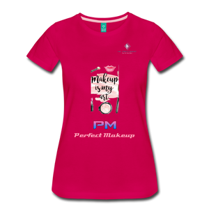 "P.M. - ""Perfect Makeup"" Line - (Makeup Is My Art) Premium Short Sleeve T-Shirt - dark pink"