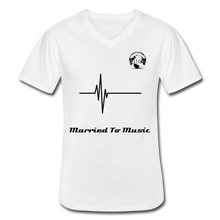 "Load image into Gallery viewer, Premier DJ E-Luv Logo - ""Married To Music"" Signature Men's V-Neck T-Shirt - white"